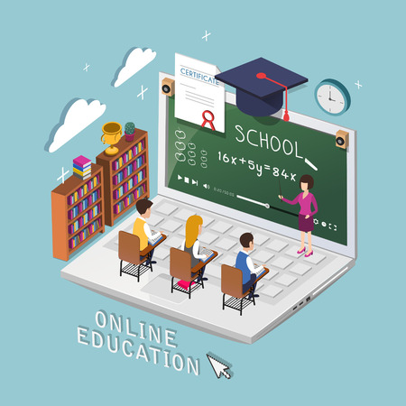 online education concept in 3d isometric flat design