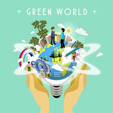 green world: green world concept in 3d isometric flat design