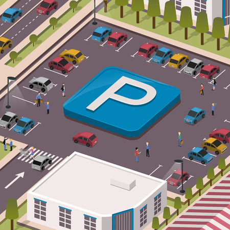 parking lot concept in 3d isometric flat design Çizim