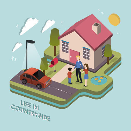 family in front of house: life in countryside concept in 3d isometric flat design