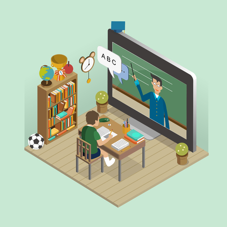 online education: online education concept in 3d isometric flat design