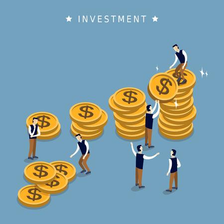 adding: investment concept in 3d isometric flat design Illustration