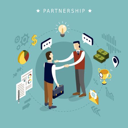 negociacion: concepto de asociación en el diseño plano isométrico 3d