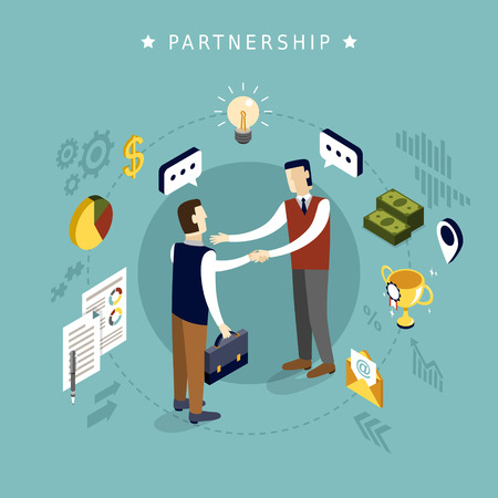 partnership concept in 3d isometric flat design Illustration