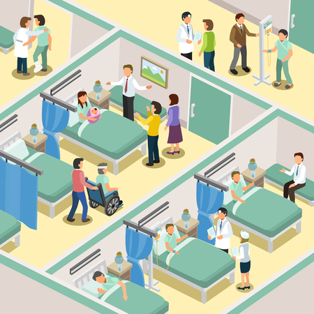 sick bed: hospital ward interior in 3d isometric flat design