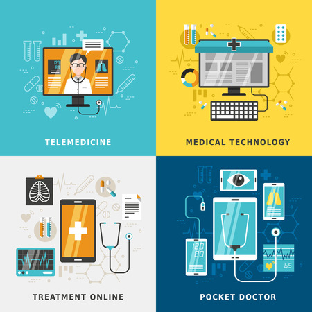 tratamiento medico: medical treatment online concept in flat design