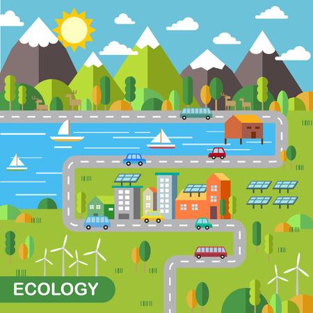 landschap: ecologie stadslandschap concept in het platte ontwerp