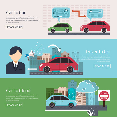 Iot in Automotive concept banners set in flat design Illustration