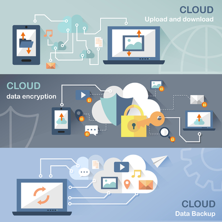 internet concept: cloud technology concept banners set in flat design