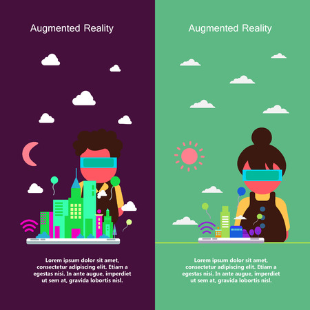 virtual reality: Augmented Reality concept design collection in flat design