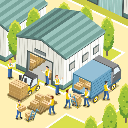 warehouse: logistic working process in 3d isometric flat design