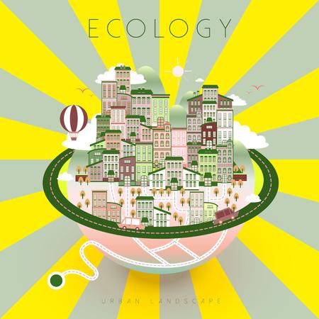urban life: ecology urban life scenery in flat design