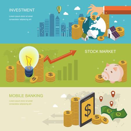 financiële concept banner in 3d isometrische plat ontwerp Stock Illustratie