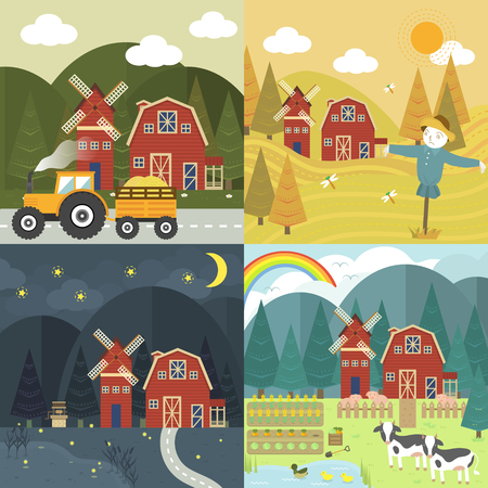 harvest field: red farm barn with different season and time in flat design Illustration