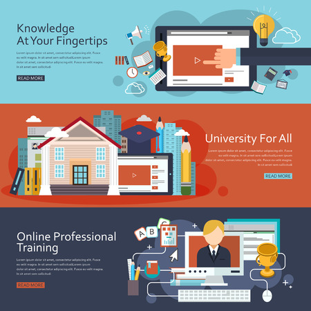 e learn: online education concept banners set in flat design Illustration