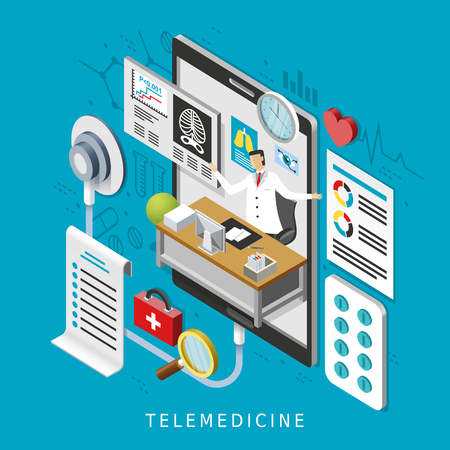blood pressure monitor: telemedicine concept in 3d isometric flat design