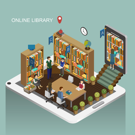 book shelves: online library concept in 3d isometric flat design