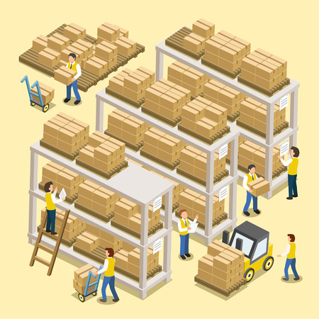 warehouse interior: logistic working process in 3d isometric flat design