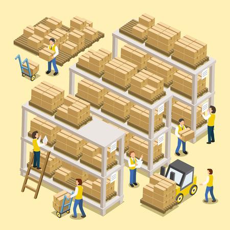 inventario: proceso de trabajo log�stico en dise�o plano isom�trico 3d Vectores