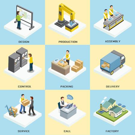 logistics working process in 3d isometric flat design  イラスト・ベクター素材