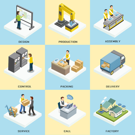logistics working process in 3d isometric flat design Çizim