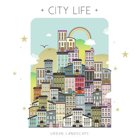 city life: lovely city life scenery in flat design Illustration
