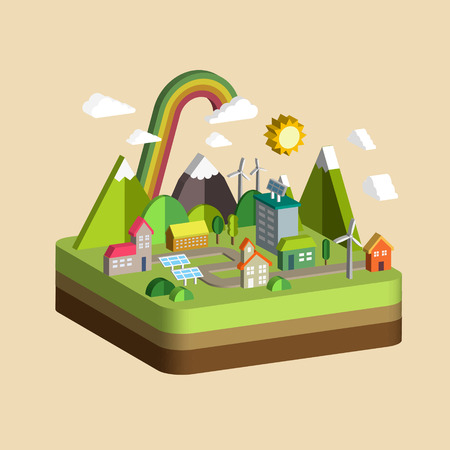 green life: ecology city scenery concept in 3d isometric flat design
