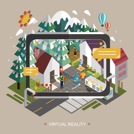 virtual technology: virtual reality concept in 3d isometric flat design