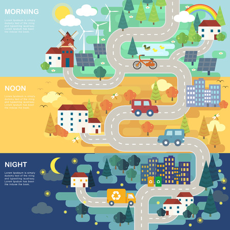 morning noon and night: lovely city road map in flat design Illustration