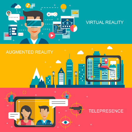 digital design: virtual reality concept banners set in flat design