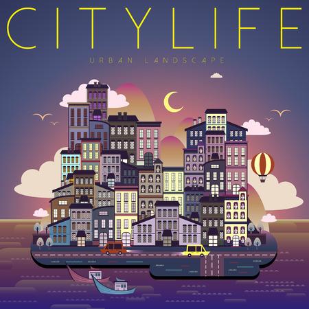 city life: beautiful city life night scene in flat design