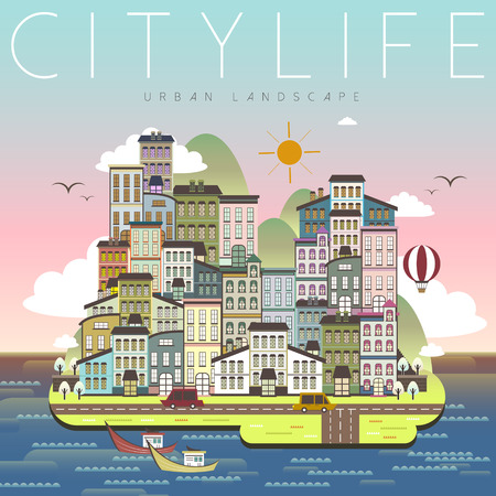 roadtrip: lovely city life scenery in flat design Illustration