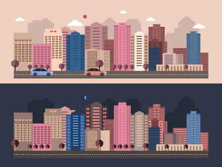city life: modern city life scenery in flat design