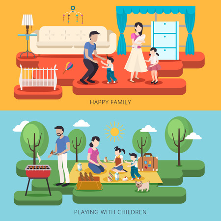 adorable happy family time concept in flat style