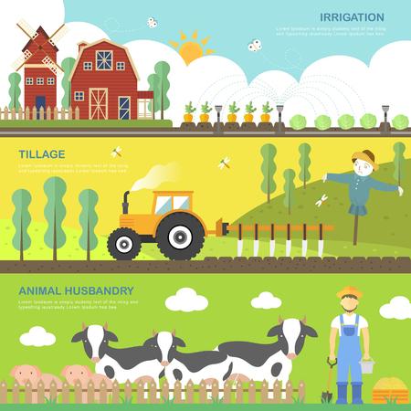 tillage: la agricultura concepto banners situados en estilo plano