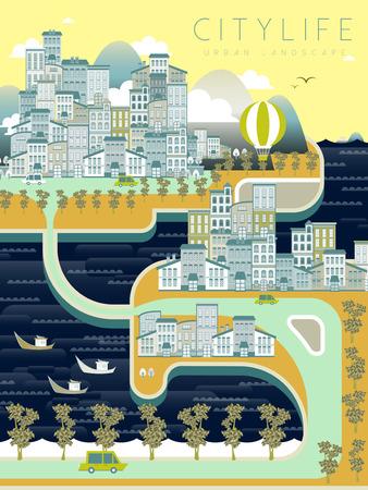lovely city life landscape in flat style Illustration