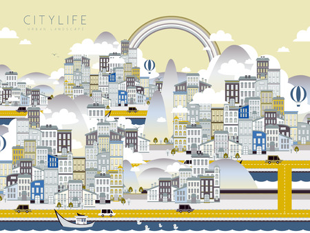 cleaning earth: lovely city life landscape in flat style Illustration