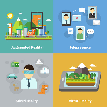 virtual reality: virtual reality concept collection in flat style Illustration
