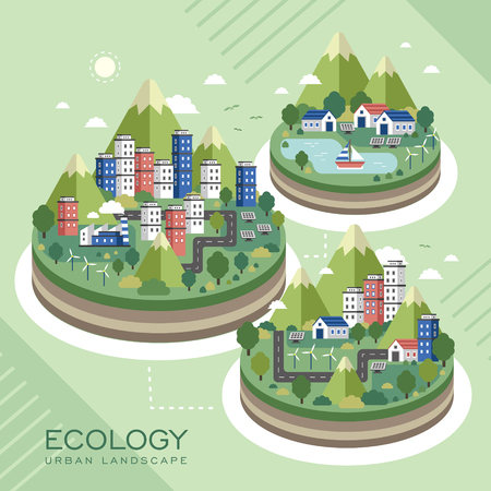 cleaning earth: lovely ecology urban landscape in flat style