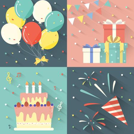 party design: birthday party celebration set in flat design