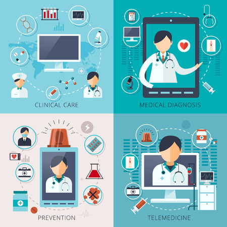 adorable telemedicine concept collection in flat style Stock Vector - 48774197