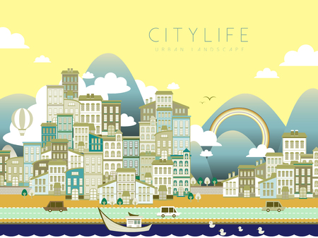 life style: lovely city life landscape in flat style Illustration