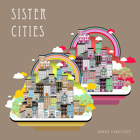 pink hills: lovely sister cities landscape in flat style Illustration