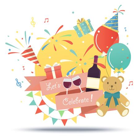 celebration party: birthday party celebration illustration in flat design