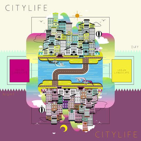 city life: lovely city life landscape in flat style Illustration