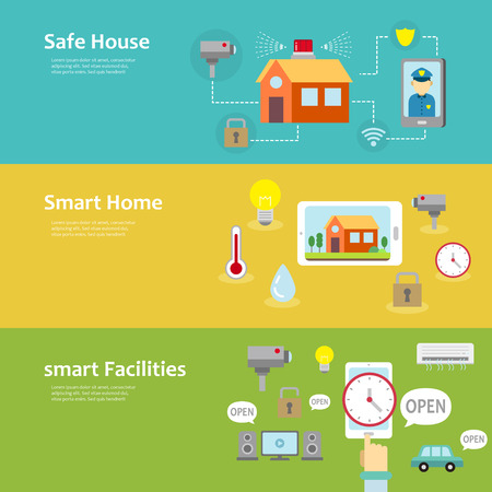 security system: smart home and facilities concept banner set  in flat design
