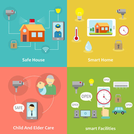 smart home and facilities concept banner set  in flat design
