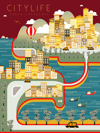 urban city: lovely city life landscape in flat style Illustration