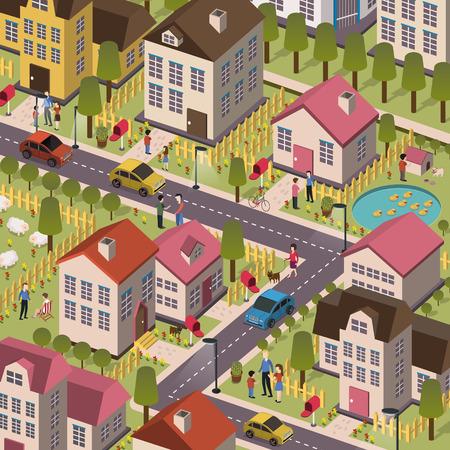 aantrekkelijke vriendelijke gemeenschap in 3d plat ontwerp