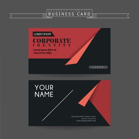 Attractive Business Card Template Design With Origami Elements